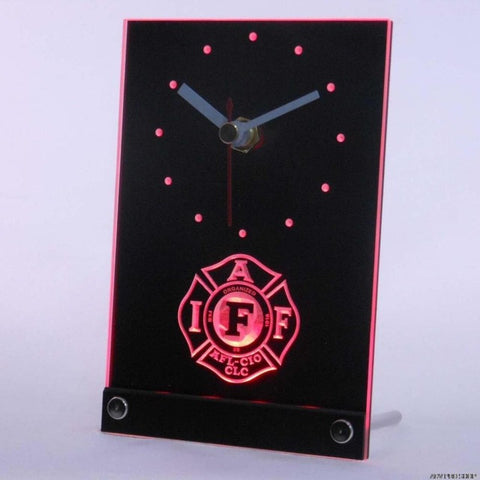 Fire Rescue IAFF FireFighters Department Table Desk 3D LED Clock