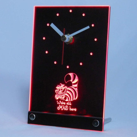 The Cheshire Cat Alice in Wonderland Table Desk 3D LED Clock