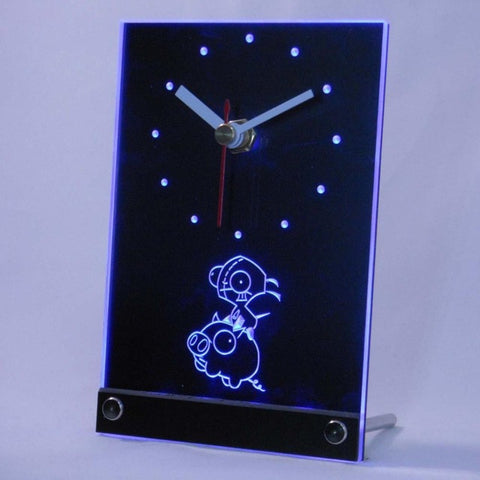 Invader Zim Piggy Table Desk 3D LED Clock