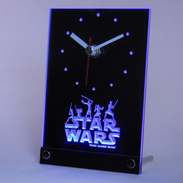 Star Wars The Clone Wars Jedi Table Desk 3D LED Clock