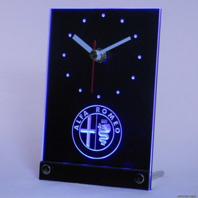 Alfa Romeo Car Services Table Desk 3D LED Clock