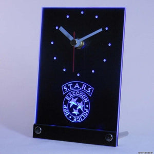 Biohazard Stars RPD Resident Evil Table Desk 3D LED Clock