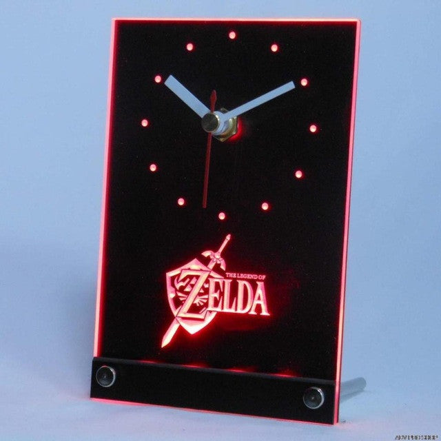 Legend of Zelda Video Game Room Table Desk 3D LED Clock