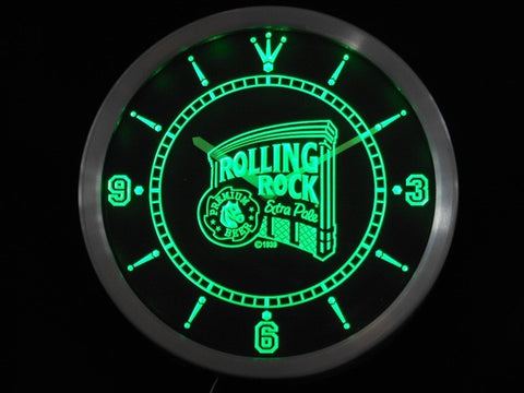 Rolling Rock Beer Neon Sign LED Wall Clock