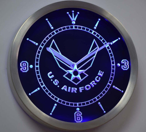 US Air Force Neon Sign LED Wall Clock