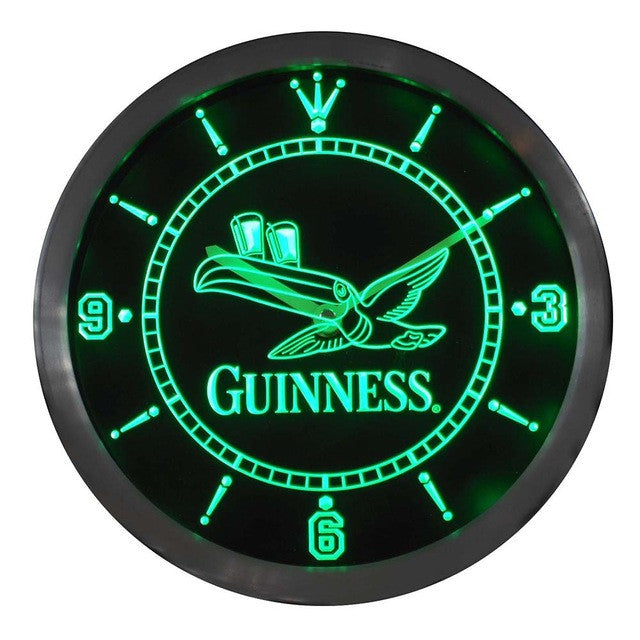 Guinness Toucan Beer Bar Neon Sign LED Wall Clock