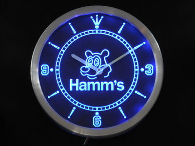 Hamm's Bear Beer Bar Neon Sign LED Wall Clock