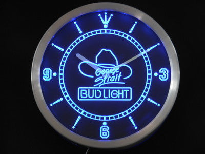 Bud Light George Strait Neon Sign LED Wall Clock
