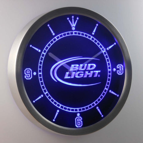 Bud Light Beer Bar Neon Sign LED Wall Clock