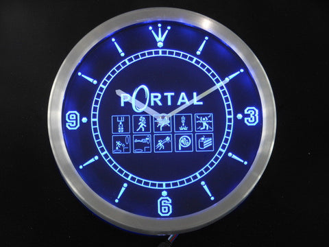Portal Game Neon Sign LED Wall Clock