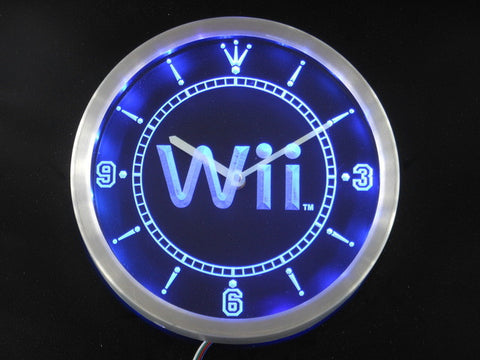 Wii Game Room Neon Sign LED Wall Clock
