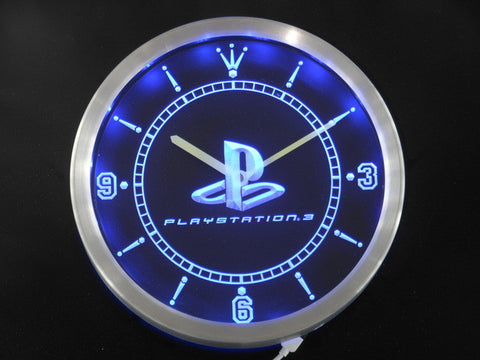 Playstation 3 Game Room Neon Sign LED Wall Clock