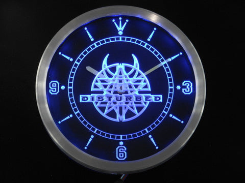 Disturbed Rock n Roll Bar Pub Neon Sign LED Wall Clock