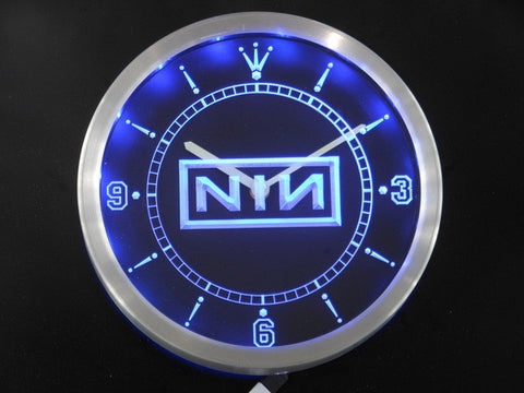 NIN Nine Inch Nail Rock n Roll Bar Beer Neon Sign LED Wall Clock