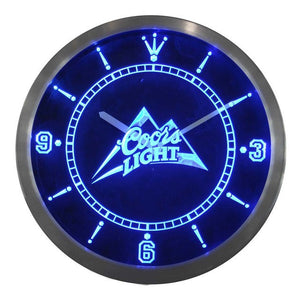Coors Light Beer Bar Man Cave Neon Sign LED Clock