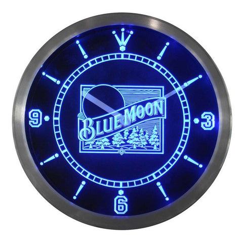 Blue Moon Beer Bar Pub Logo Neon Sign LED Clock