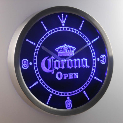 OPEN Corona Crown Beer Pub Bar Neon Sign LED Wall Clock
