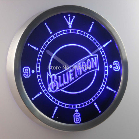 Blue Moon Beer Bar Pub Neon Sign LED Wall Clock