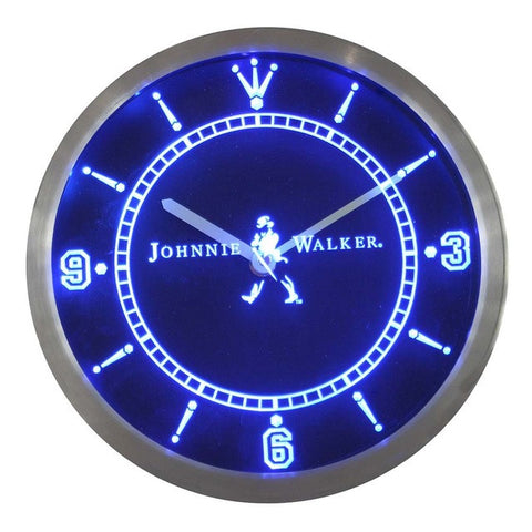 Johnnie Walker Whiskey Wine Bar Neon Sign LED Wall Clock