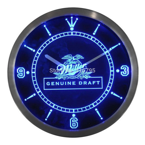 Miller Beer Draft Bar Neon Sign LED Wall Clock