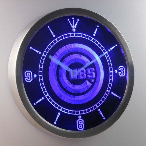 Chicago Cubs Neon Sign LED Wall Clock
