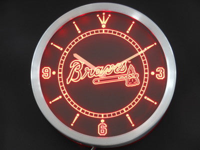 Atlanta Braves Neon Sign LED Wall Clock