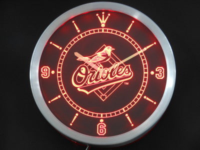 Baltimore Orioles Neon Sign LED Wall Clock