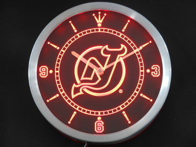 New Jersey Devils Neon Sign LED Wall Clock