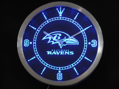 Baltimore Ravens Neon Sign LED Wall Clock