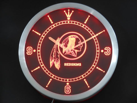 Washington Redskins Neon Sign LED Wall Clock