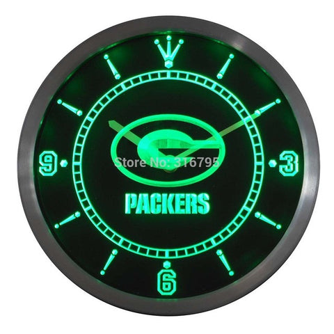 Green Bay Packers Neon Sign LED Wall Clock
