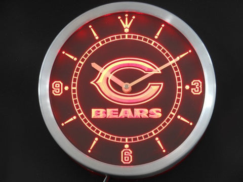 Chicago Bears Neon Sign LED Wall Clock