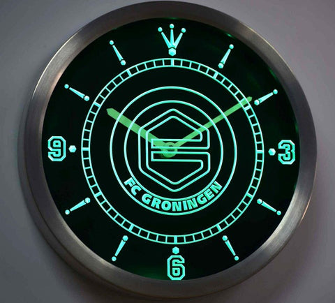 FC Groningen Dutch Eredivisie Neon Sign LED Wall Clock