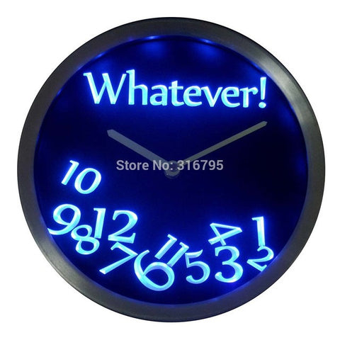 Whatever Time Bar Beer Retire Gift Decor Neon LED Wall Clock
