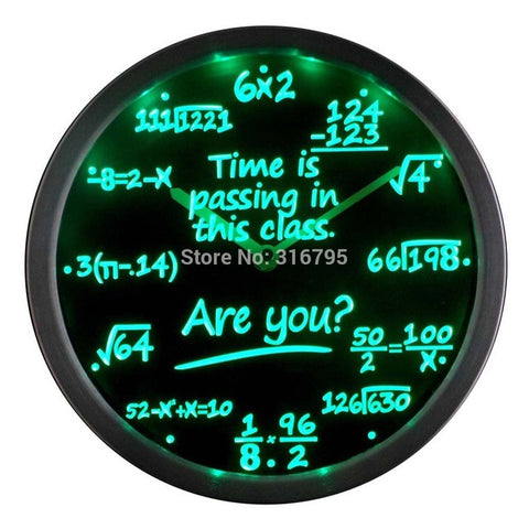 Math Class Time is Passing are you? Gift Decor Neon LED Wall Clock
