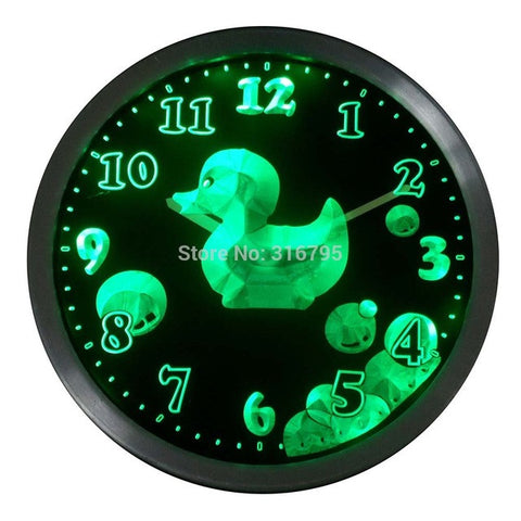 Cutie Duck Boys Girls Kids Nursery Room Gift Decor Neon LED Wall Clock