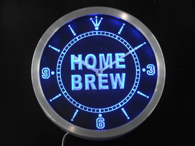 Home Brew Bar Beer Club Wine Neon Sign LED Wall Clock