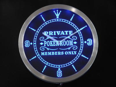 Private Poker Room Member Only Bar Beer Neon Sign LED Wall Clock