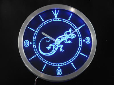 Gecko Lizard Display D?cor Bar Beer Neon Sign LED Wall Clock