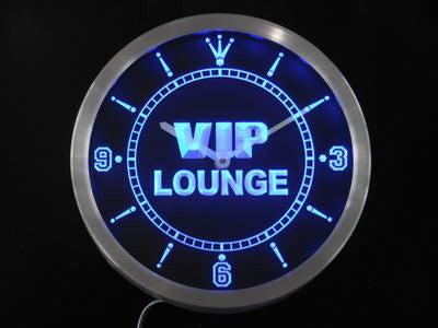 VIP Lounge Bar Beer Club Pub Wine Neon Sign LED Wall Clock