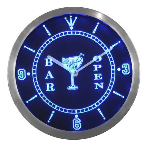 Cocktails Bar Open Beer Wine Neon Sign LED Wall Clock