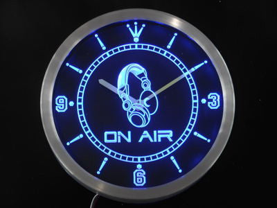 On The Air Headphone Bar Neon Sign LED Wall Clock