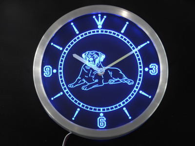 Mastiff Dog Pet Shop Bar Beer Neon Sign LED Wall Clock
