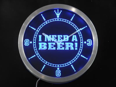 I Need a Beer Bar Pub Club Neon Sign LED Wall Clock