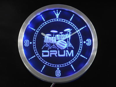 Band Room Drum Rock n Roll Music Neon Sign LED Wall Clock