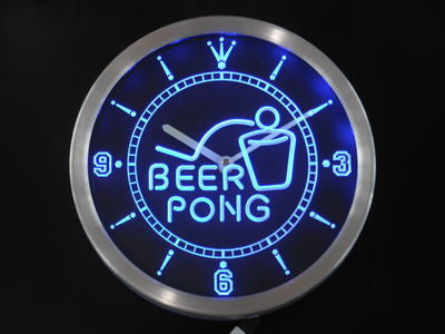 Beer Pong Bar Game Sport Club Neon Sign LED Wall Clock