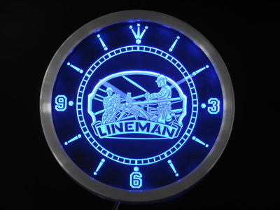Lineman Decor Bar Beer Gift Neon Sign LED Wall Clock