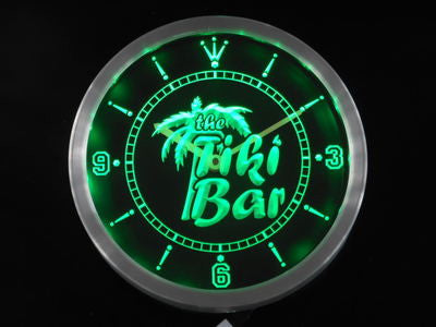 The Tiki Bar Palm Tree Beer Neon Sign LED Wall Clock