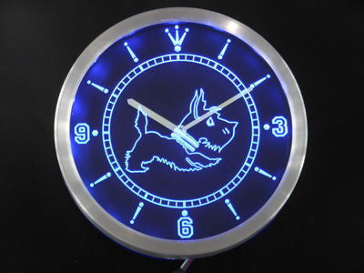 Old Fashioned Scottie Dog Shop Neon Sign LED Wall Clock