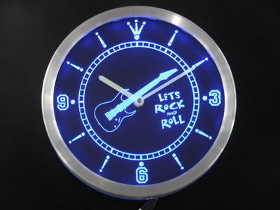 Guitar Let Rock n Roll Bar Beer Neon Sign LED Wall Clock